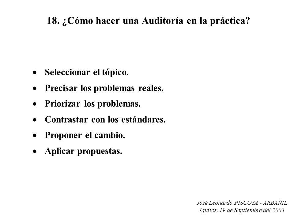 José Leonardo PISCOYA - ARBAÑIL Iquitos, 19 de Septiembre del 2003 18. ¿Cómo hacer una Auditoría en la práctica? Seleccionar el tópico. Precisar los p