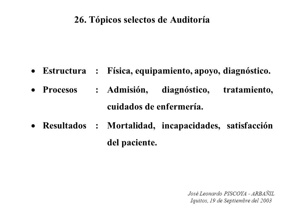 José Leonardo PISCOYA - ARBAÑIL Iquitos, 19 de Septiembre del 2003 26. Tópicos selectos de Auditoría Estructura:Física, equipamiento, apoyo, diagnósti