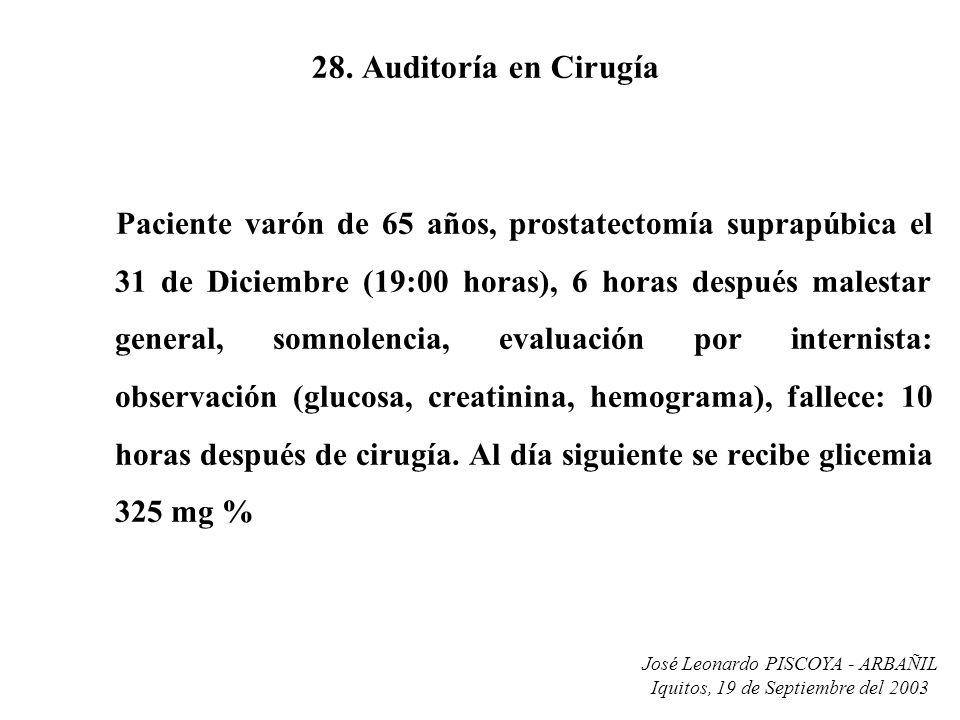 José Leonardo PISCOYA - ARBAÑIL Iquitos, 19 de Septiembre del 2003 28. Auditoría en Cirugía Paciente varón de 65 años, prostatectomía suprapúbica el 3