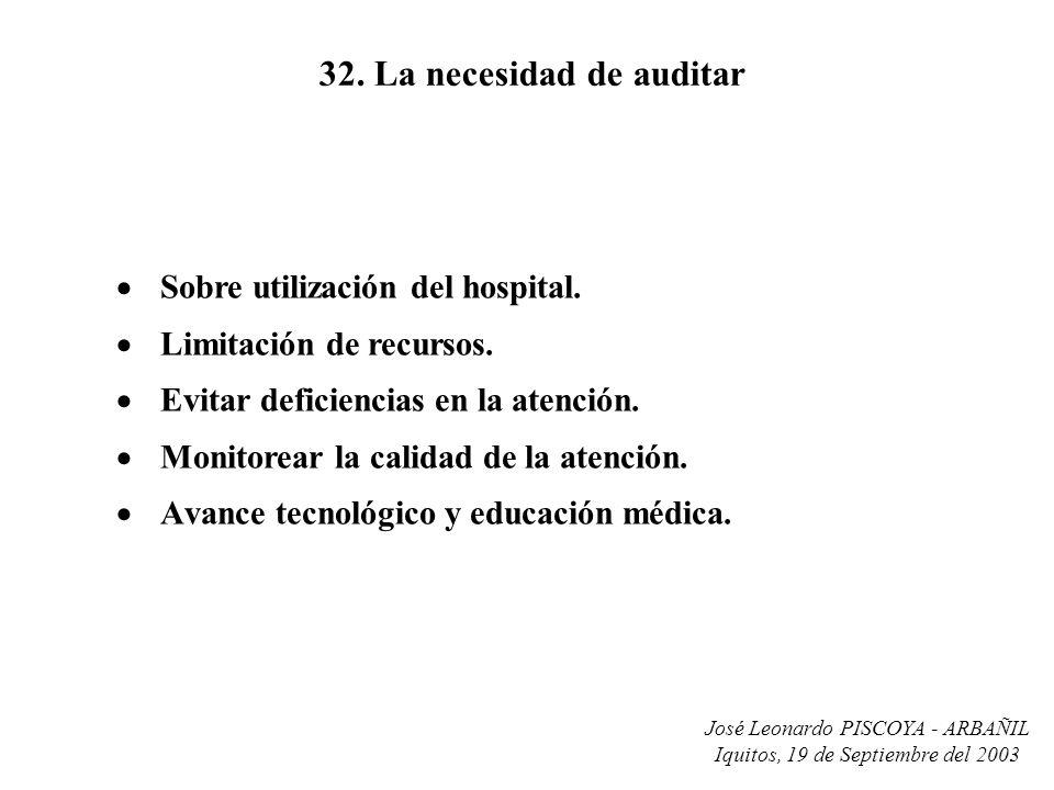 José Leonardo PISCOYA - ARBAÑIL Iquitos, 19 de Septiembre del 2003 32. La necesidad de auditar Sobre utilización del hospital. Limitación de recursos.