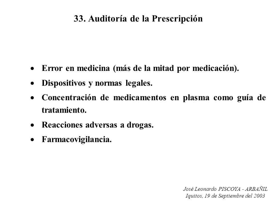 José Leonardo PISCOYA - ARBAÑIL Iquitos, 19 de Septiembre del 2003 33. Auditoría de la Prescripción Error en medicina (más de la mitad por medicación)