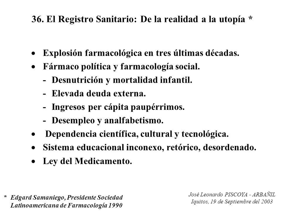 José Leonardo PISCOYA - ARBAÑIL Iquitos, 19 de Septiembre del 2003 36. El Registro Sanitario: De la realidad a la utopía * Explosión farmacológica en