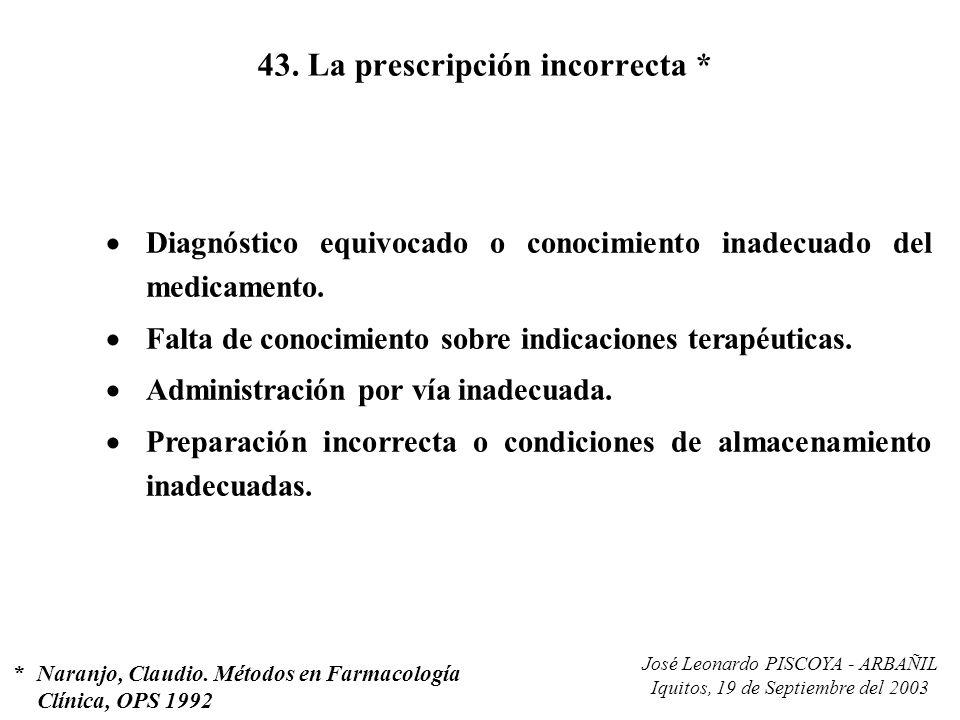 José Leonardo PISCOYA - ARBAÑIL Iquitos, 19 de Septiembre del 2003 43. La prescripción incorrecta * Diagnóstico equivocado o conocimiento inadecuado d
