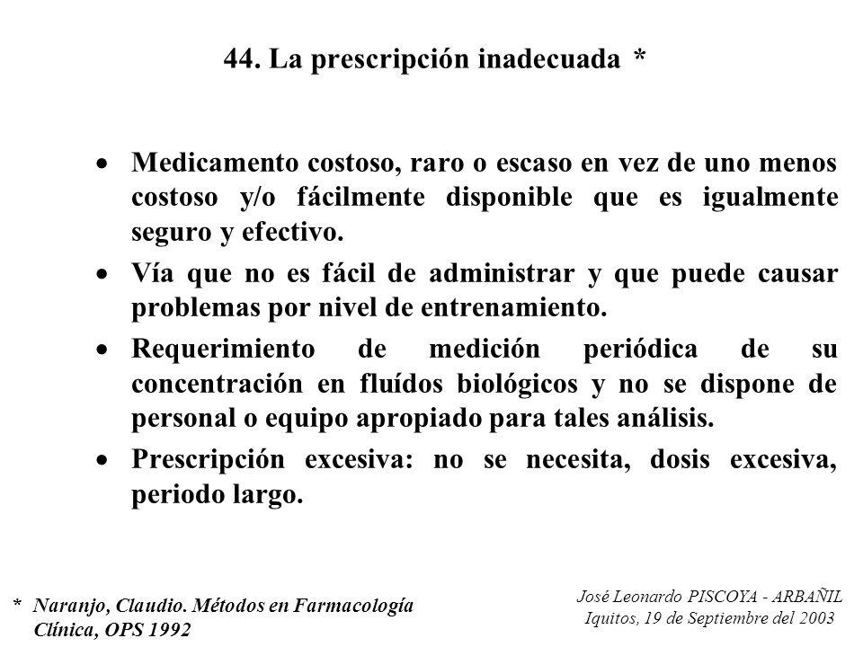 José Leonardo PISCOYA - ARBAÑIL Iquitos, 19 de Septiembre del 2003 44. La prescripción inadecuada * Medicamento costoso, raro o escaso en vez de uno m