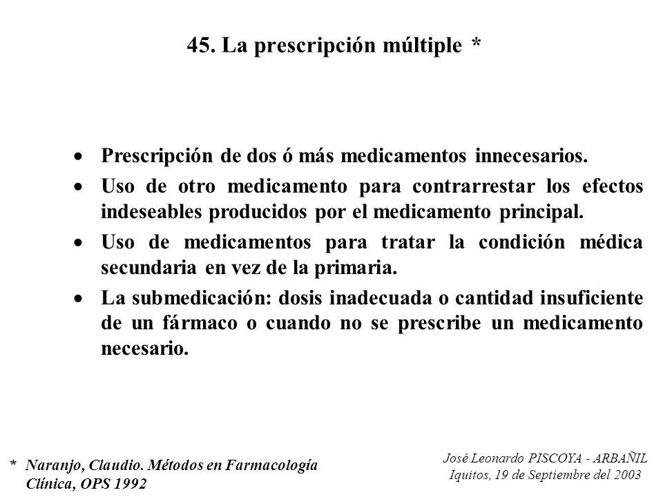 José Leonardo PISCOYA - ARBAÑIL Iquitos, 19 de Septiembre del 2003 45. La prescripción múltiple * Prescripción de dos ó más medicamentos innecesarios.