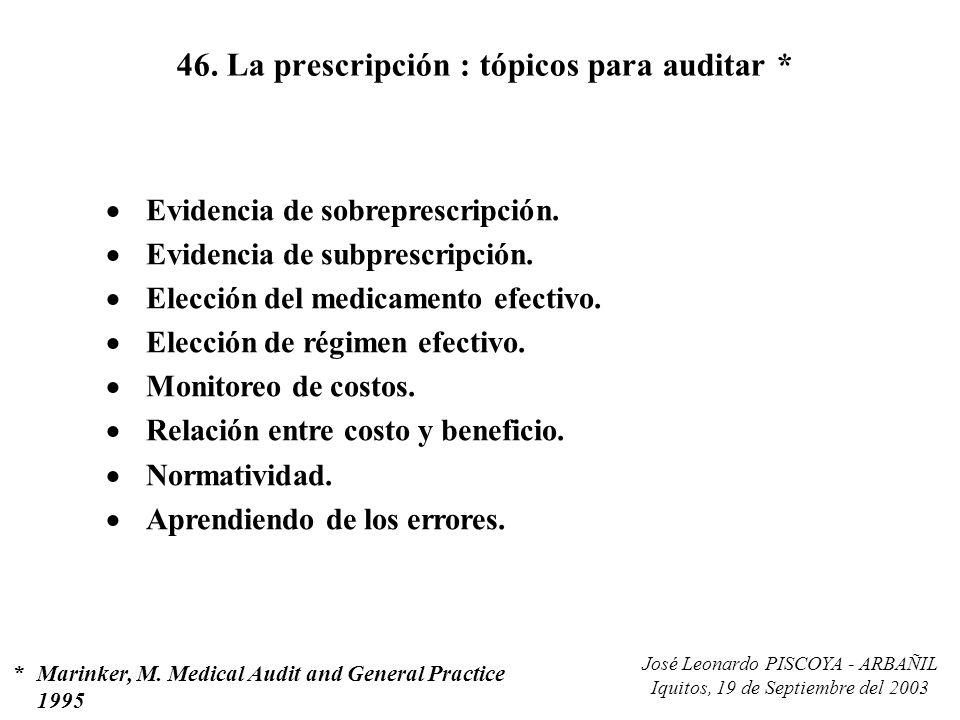 José Leonardo PISCOYA - ARBAÑIL Iquitos, 19 de Septiembre del 2003 46. La prescripción : tópicos para auditar * Evidencia de sobreprescripción. Eviden