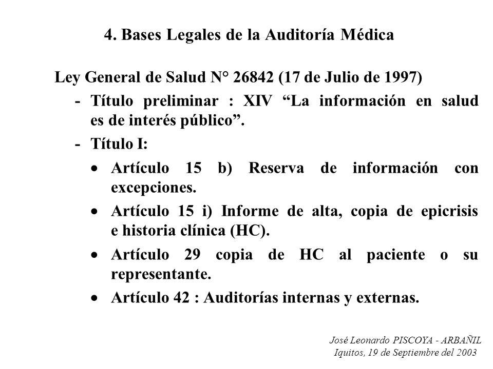 José Leonardo PISCOYA - ARBAÑIL Iquitos, 19 de Septiembre del 2003 4. Bases Legales de la Auditoría Médica Ley General de Salud N° 26842 (17 de Julio