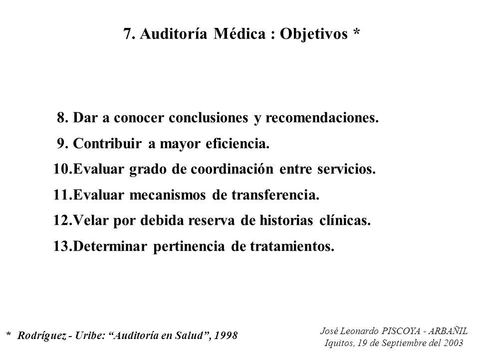 José Leonardo PISCOYA - ARBAÑIL Iquitos, 19 de Septiembre del 2003 7. Auditoría Médica : Objetivos * 8.Dar a conocer conclusiones y recomendaciones. 9