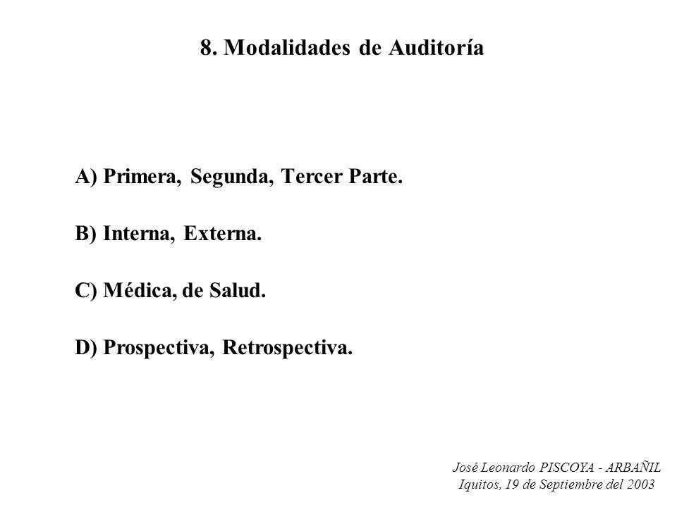 José Leonardo PISCOYA - ARBAÑIL Iquitos, 19 de Septiembre del 2003 8. Modalidades de Auditoría A)Primera, Segunda, Tercer Parte. B)Interna, Externa. C