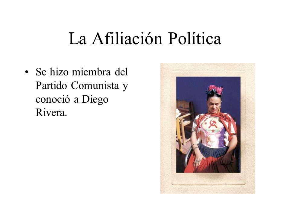 La Afiliación Política Se hizo miembra del Partido Comunista y conoció a Diego Rivera.