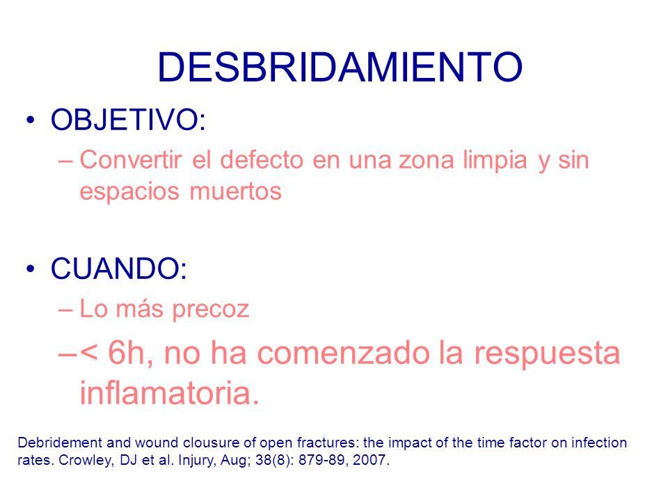 DESBRIDAMIENTO OBJETIVO: –Convertir el defecto en una zona limpia y sin espacios muertos CUANDO: –Lo más precoz –< 6h, no ha comenzado la respuesta inflamatoria.