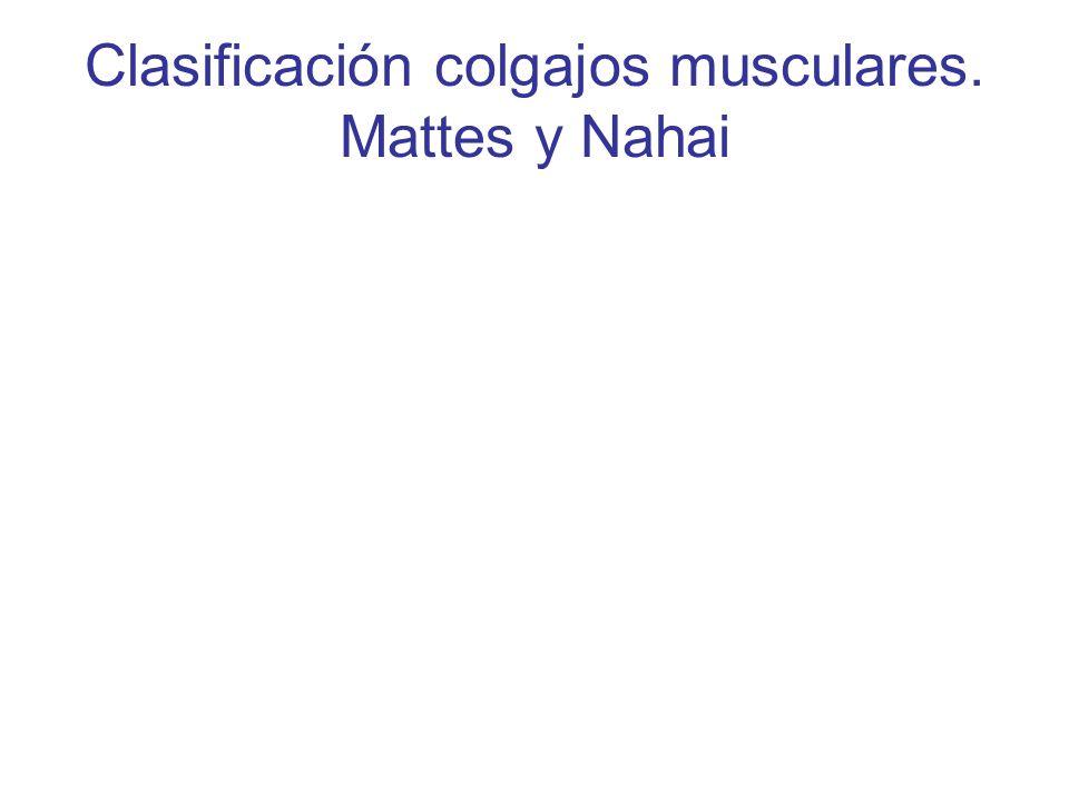 Clasificación colgajos musculares. Mattes y Nahai