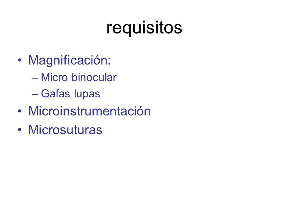 requisitos Magnificación: –Micro binocular –Gafas lupas Microinstrumentación Microsuturas