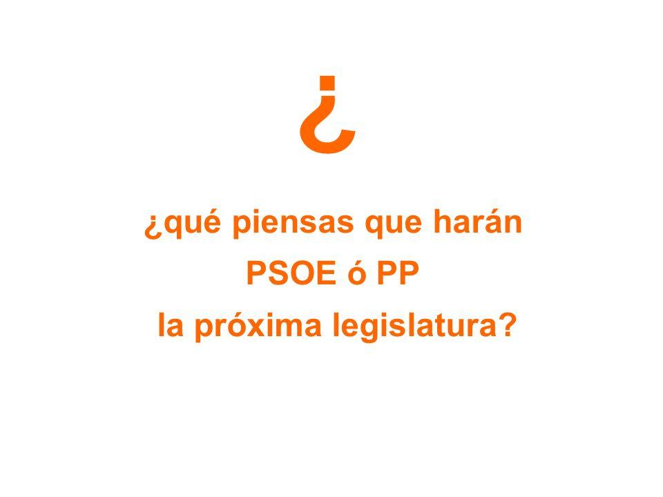 ¿ ¿qué piensas que harán PSOE ó PP la próxima legislatura?