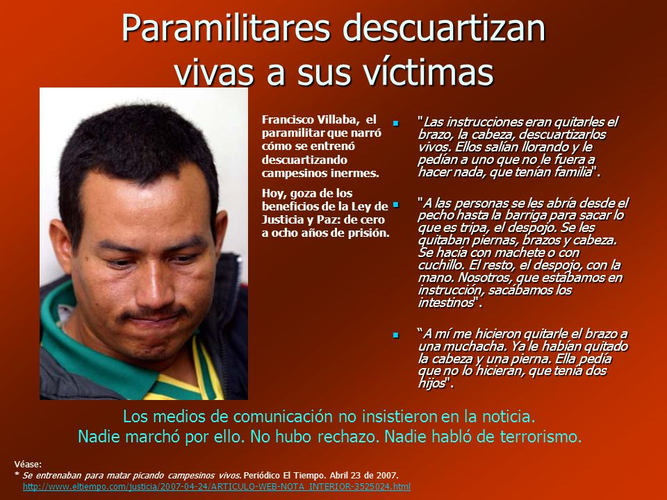 Paramilitares descuartizan vivas a sus víctimas