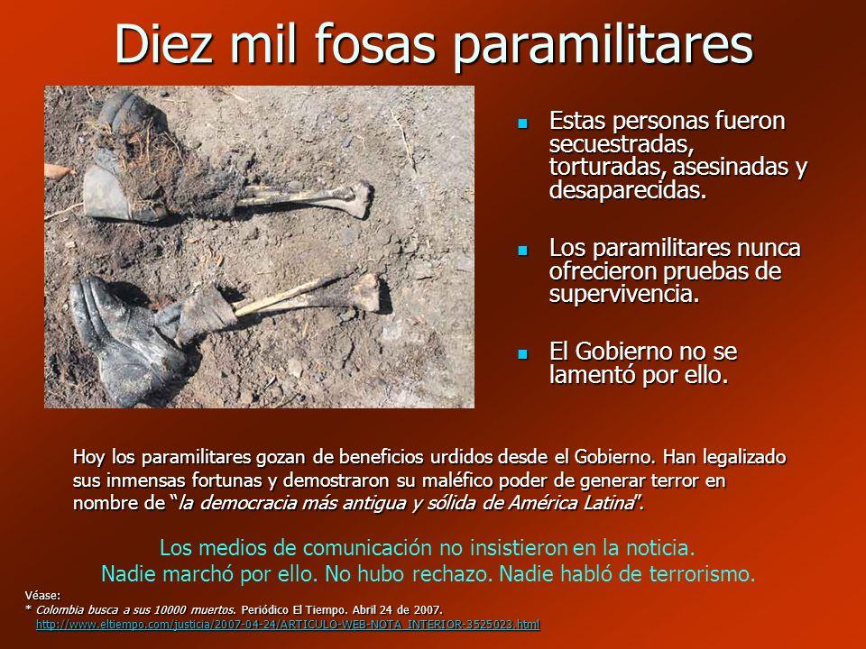Diez mil fosas paramilitares Estas personas fueron secuestradas, torturadas, asesinadas y desaparecidas. Estas personas fueron secuestradas, torturada