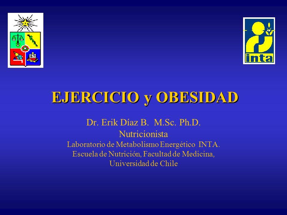 EJERCICIO y OBESIDAD Dr. Erik Díaz B. M.Sc. Ph.D. Nutricionista Laboratorio de Metabolismo Energético INTA. Escuela de Nutrición, Facultad de Medicina