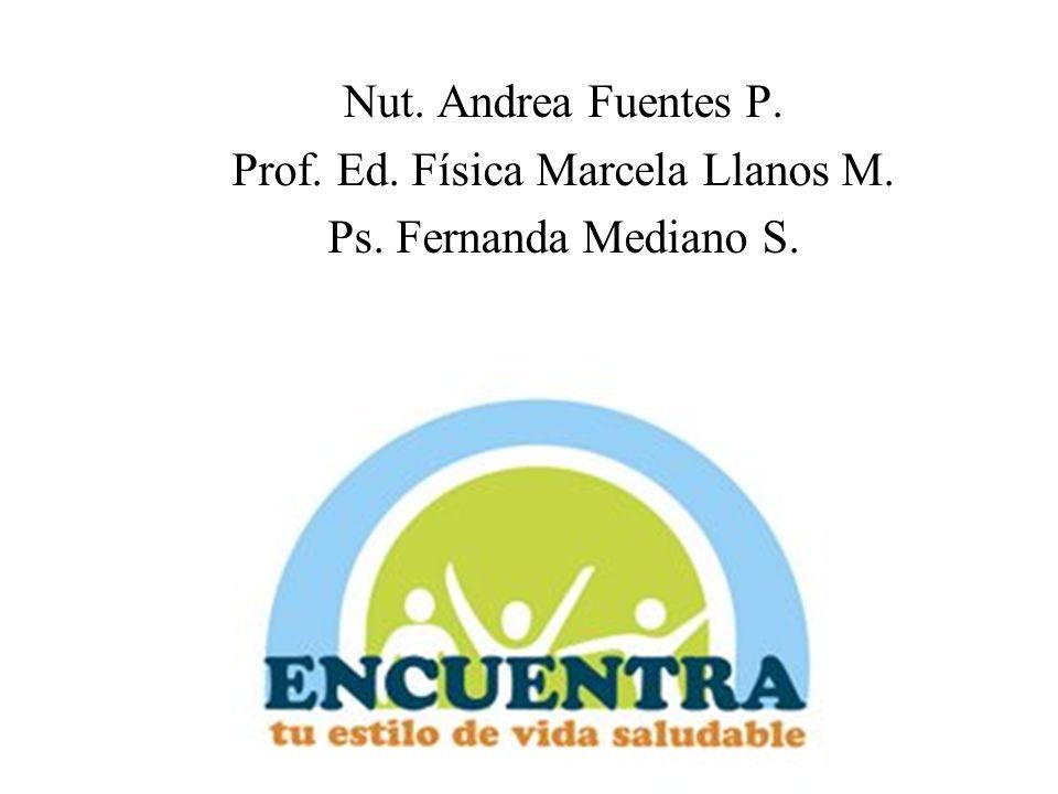 Nut. Andrea Fuentes P. Prof. Ed. Física Marcela Llanos M. Ps. Fernanda Mediano S.