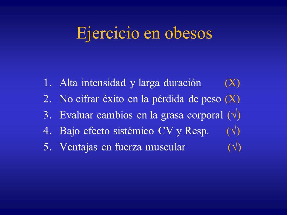 Ejercicio en obesos 1.Alta intensidad y larga duración (X) 2.No cifrar éxito en la pérdida de peso (X) 3.Evaluar cambios en la grasa corporal ( ) 4.Ba