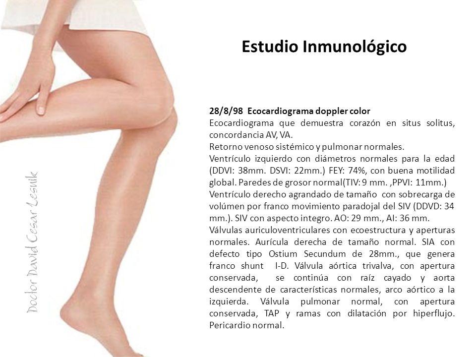 28/8/98 Ecocardiograma doppler color Ecocardiograma que demuestra corazón en situs solitus, concordancia AV, VA. Retorno venoso sistémico y pulmonar n