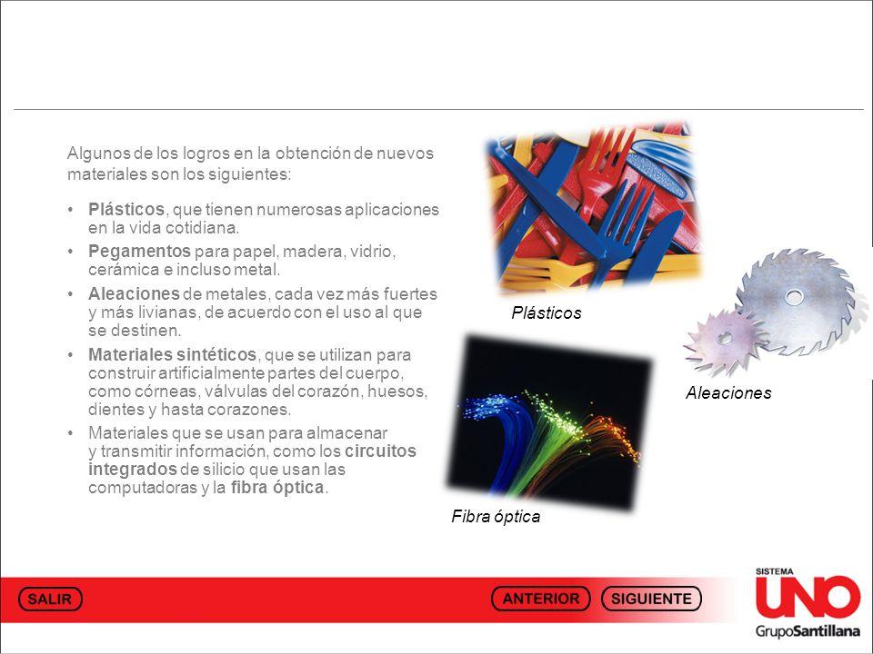 Algunos de los logros en la obtención de nuevos materiales son los siguientes: Plásticos, que tienen numerosas aplicaciones en la vida cotidiana.
