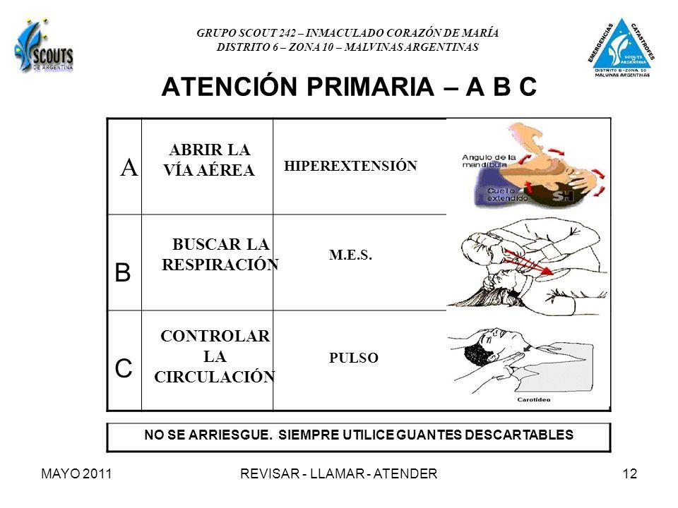 MAYO 2011REVISAR - LLAMAR - ATENDER12 ATENCIÓN PRIMARIA – A B C B C A ABRIR LA VÍA AÉREA BUSCAR LA RESPIRACIÓN CONTROLAR LA CIRCULACIÓN HIPEREXTENSIÓN M.E.S.