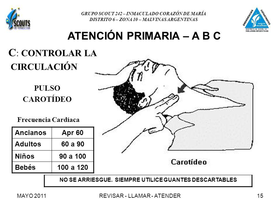 MAYO 2011REVISAR - LLAMAR - ATENDER15 C : CONTROLAR LA CIRCULACIÓN PULSO CAROTÍDEO AncianosApr 60 Adultos60 a 90 Niños90 a 100 Bebés100 a 120 Frecuencia Cardíaca NO SE ARRIESGUE.