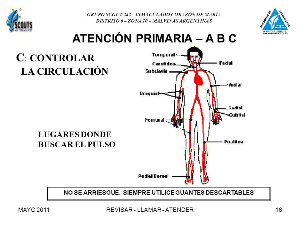 MAYO 2011REVISAR - LLAMAR - ATENDER16 C : CONTROLAR LA CIRCULACIÓN LUGARES DONDE BUSCAR EL PULSO NO SE ARRIESGUE. SIEMPRE UTILICE GUANTES DESCARTABLES