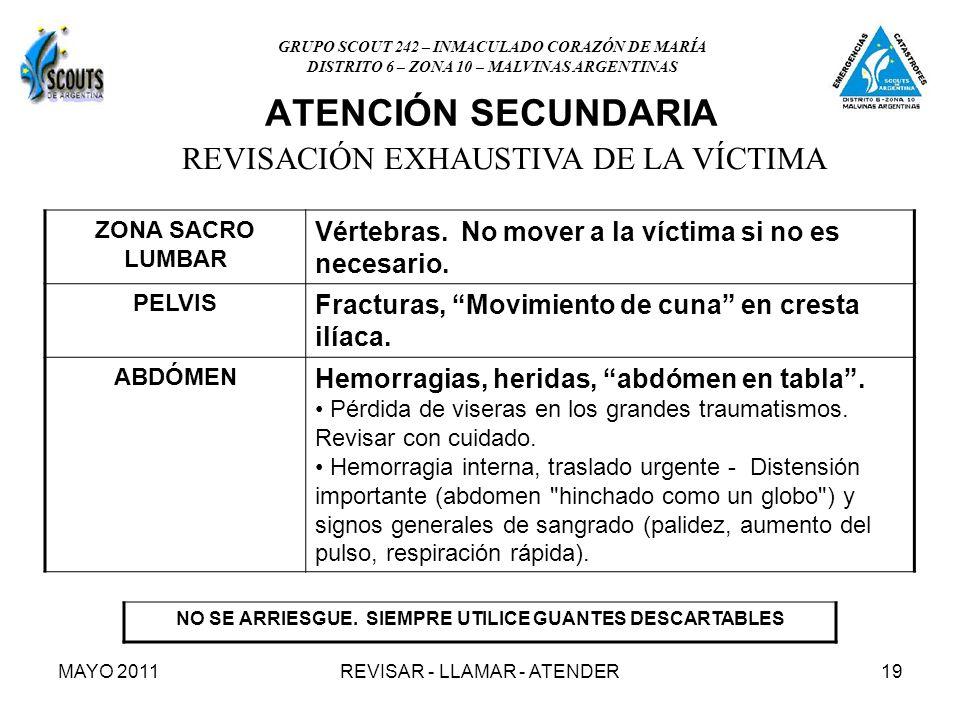 MAYO 2011REVISAR - LLAMAR - ATENDER19 ATENCIÓN SECUNDARIA NO SE ARRIESGUE.