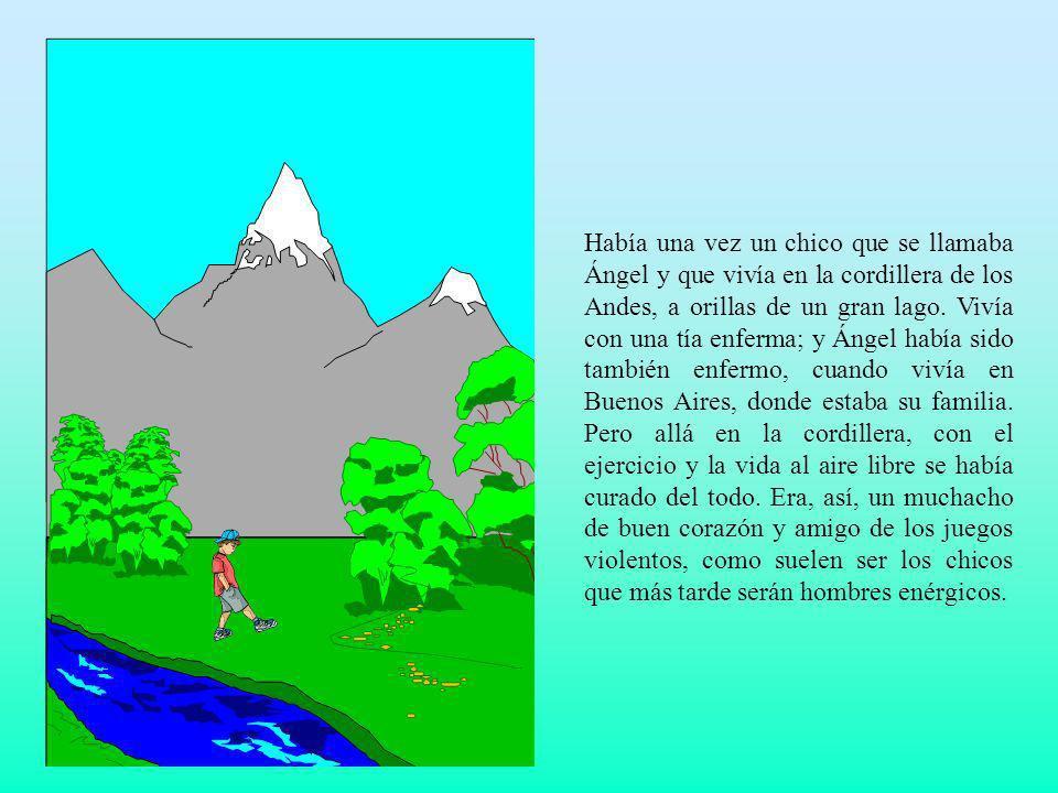 Había una vez un chico que se llamaba Ángel y que vivía en la cordillera de los Andes, a orillas de un gran lago. Vivía con una tía enferma; y Ángel h