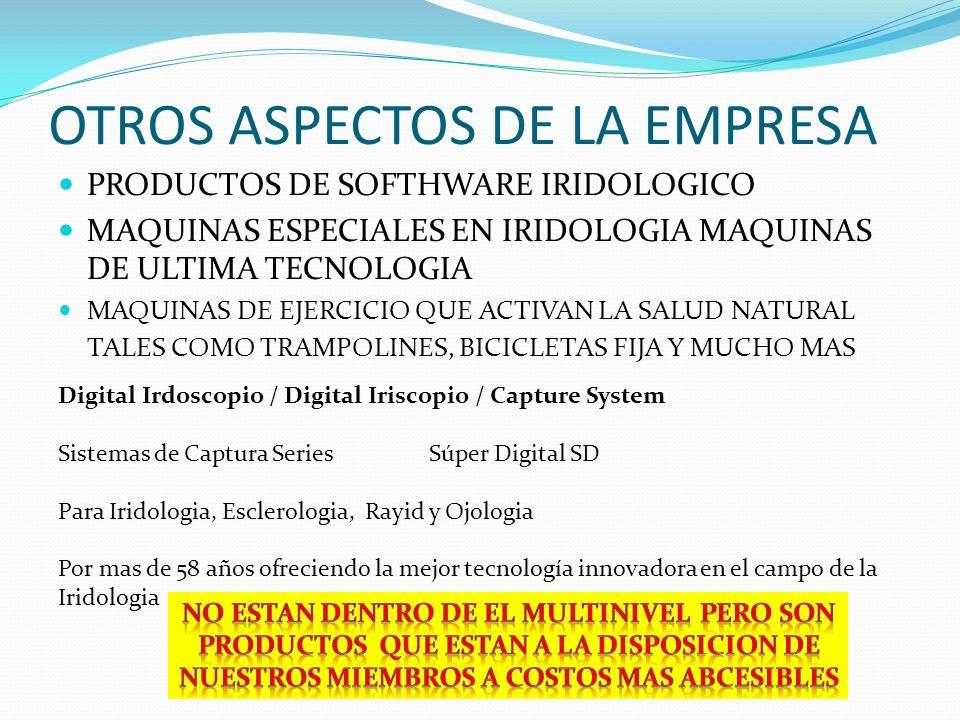 OTROS ASPECTOS DE LA EMPRESA PRODUCTOS DE SOFTHWARE IRIDOLOGICO MAQUINAS ESPECIALES EN IRIDOLOGIA MAQUINAS DE ULTIMA TECNOLOGIA MAQUINAS DE EJERCICIO