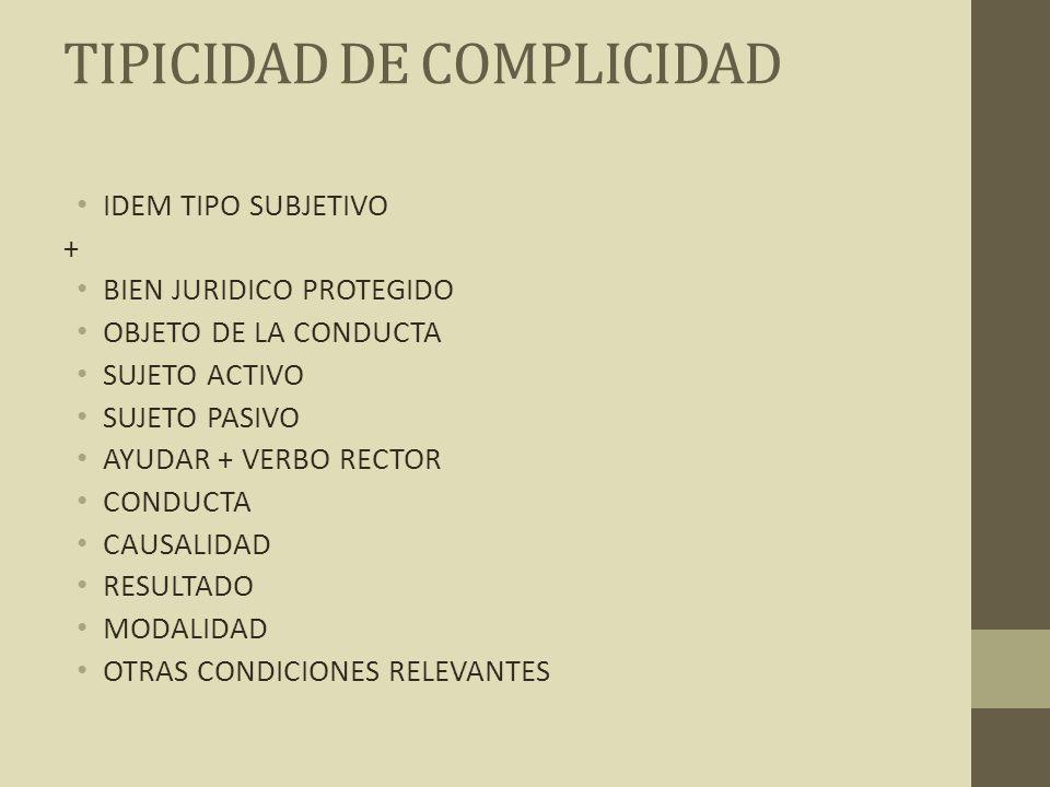TIPICIDAD DE COMPLICIDAD IDEM TIPO SUBJETIVO + BIEN JURIDICO PROTEGIDO OBJETO DE LA CONDUCTA SUJETO ACTIVO SUJETO PASIVO AYUDAR + VERBO RECTOR CONDUCT
