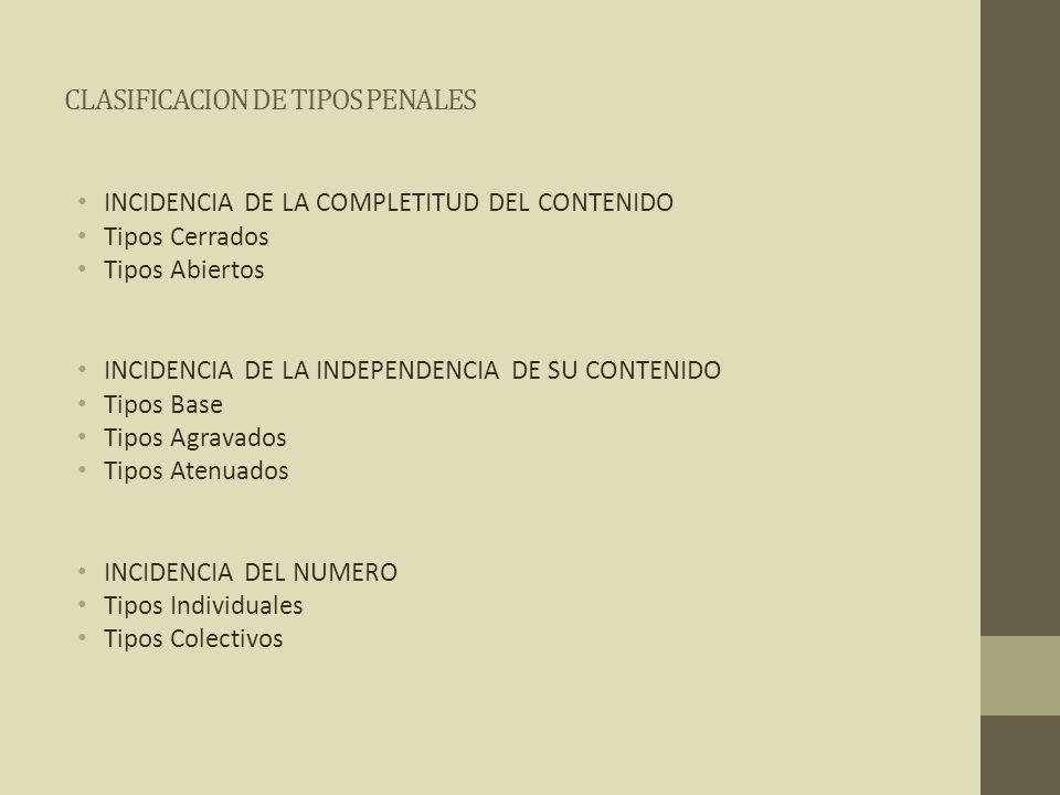 CLASIFICACION DE TIPOS PENALES INCIDENCIA DE LA COMPLETITUD DEL CONTENIDO Tipos Cerrados Tipos Abiertos INCIDENCIA DE LA INDEPENDENCIA DE SU CONTENIDO