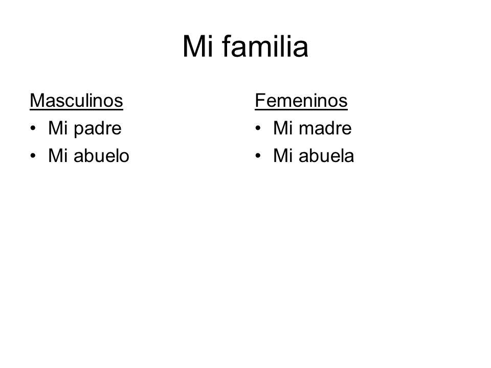 Mi familia Masculinos Mi padre Mi abuelo Femeninos Mi madre Mi abuela