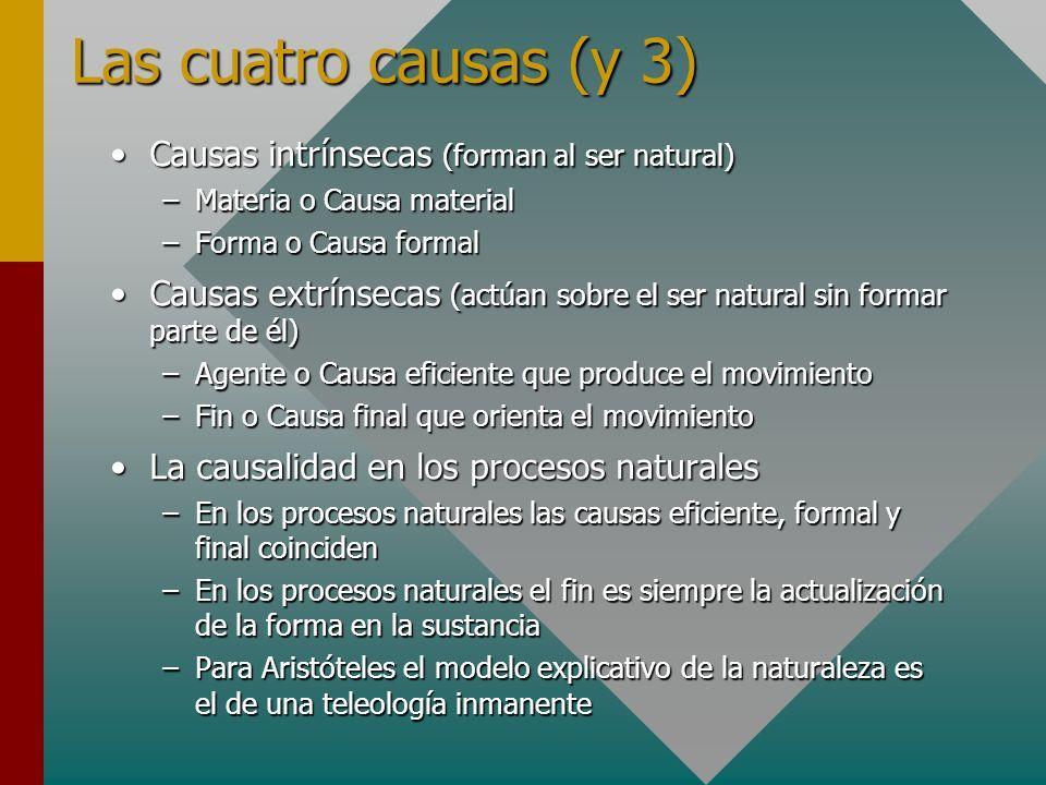 Las cuatro causas (y 3) Causas intrínsecas (forman al ser natural)Causas intrínsecas (forman al ser natural) –Materia o Causa material –Forma o Causa