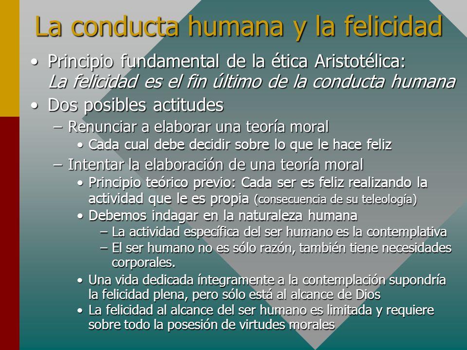 La conducta humana y la felicidad Principio fundamental de la ética Aristotélica: La felicidad es el fin último de la conducta humanaPrincipio fundame