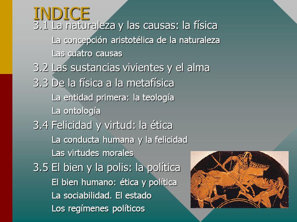 INDICE 3.1 La naturaleza y las causas: la física La concepción aristotélica de la naturaleza Las cuatro causas 3.2 Las sustancias vivientes y el alma