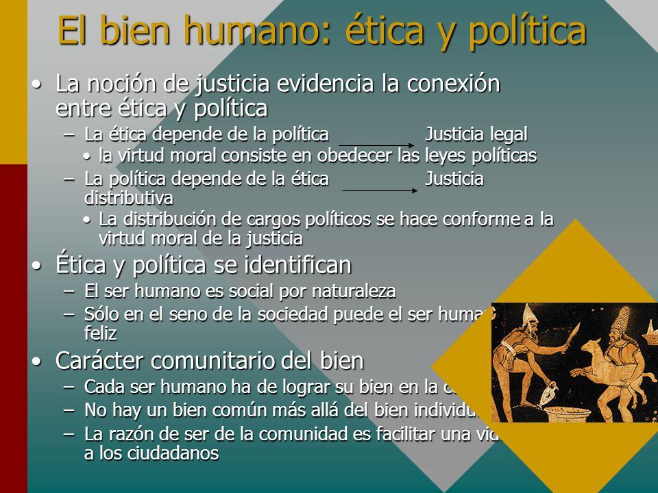 El bien humano: ética y política La noción de justicia evidencia la conexión entre ética y políticaLa noción de justicia evidencia la conexión entre é