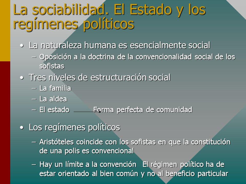 La sociabilidad. El Estado y los regímenes políticos La naturaleza humana es esencialmente socialLa naturaleza humana es esencialmente social –Oposici