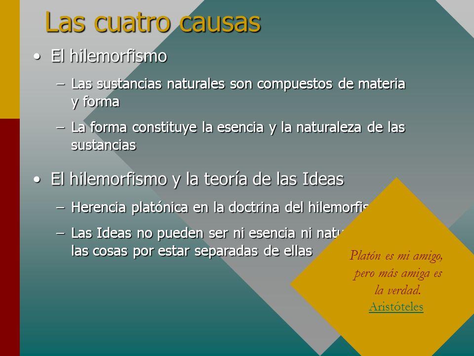 Las cuatro causas El hilemorfismoEl hilemorfismo –Las sustancias naturales son compuestos de materia y forma –La forma constituye la esencia y la natu