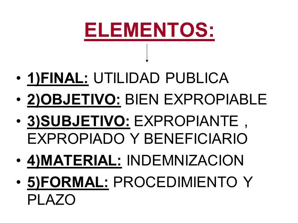 ELEMENTOS: 1)FINAL: UTILIDAD PUBLICA 2)OBJETIVO: BIEN EXPROPIABLE 3)SUBJETIVO: EXPROPIANTE, EXPROPIADO Y BENEFICIARIO 4)MATERIAL: INDEMNIZACION 5)FORM