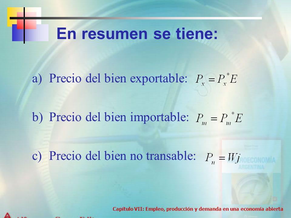 a)Precio del bien exportable: b)Precio del bien importable: c)Precio del bien no transable: Capítulo VII: Empleo, producción y demanda en una economía