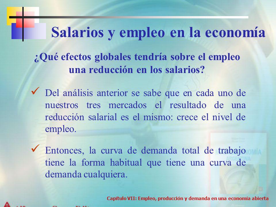 ¿Qué efectos globales tendría sobre el empleo una reducción en los salarios? Salarios y empleo en la economía Del análisis anterior se sabe que en cad