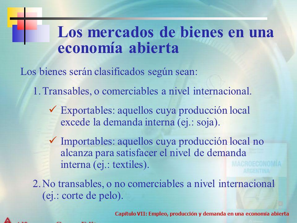 Los bienes serán clasificados según sean: 1.Transables, o comerciables a nivel internacional. Exportables: aquellos cuya producción local excede la de