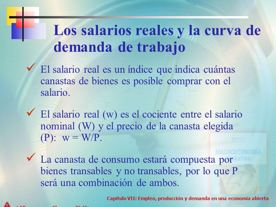 El salario real es un índice que indica cuántas canastas de bienes es posible comprar con el salario. El salario real (w) es el cociente entre el sala