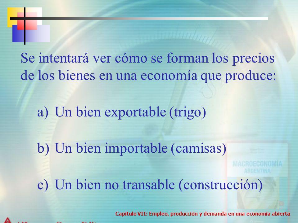 Se intentará ver cómo se forman los precios de los bienes en una economía que produce: a)Un bien exportable (trigo) b)Un bien importable (camisas) c)U