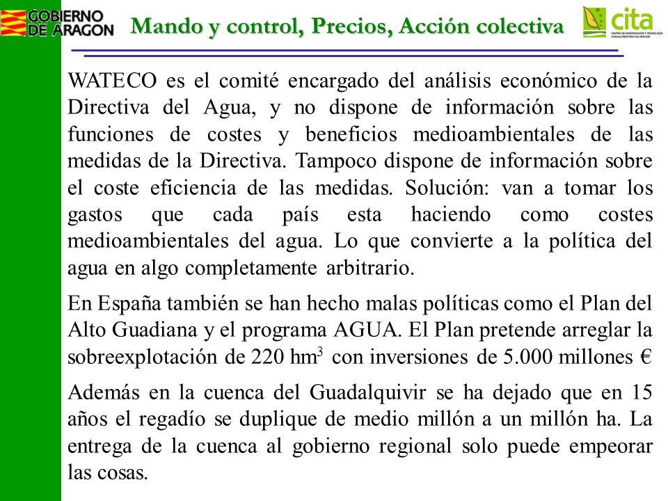 Mando y control, Precios, Acción colectiva WATECO es el comité encargado del análisis económico de la Directiva del Agua, y no dispone de información sobre las funciones de costes y beneficios medioambientales de las medidas de la Directiva.