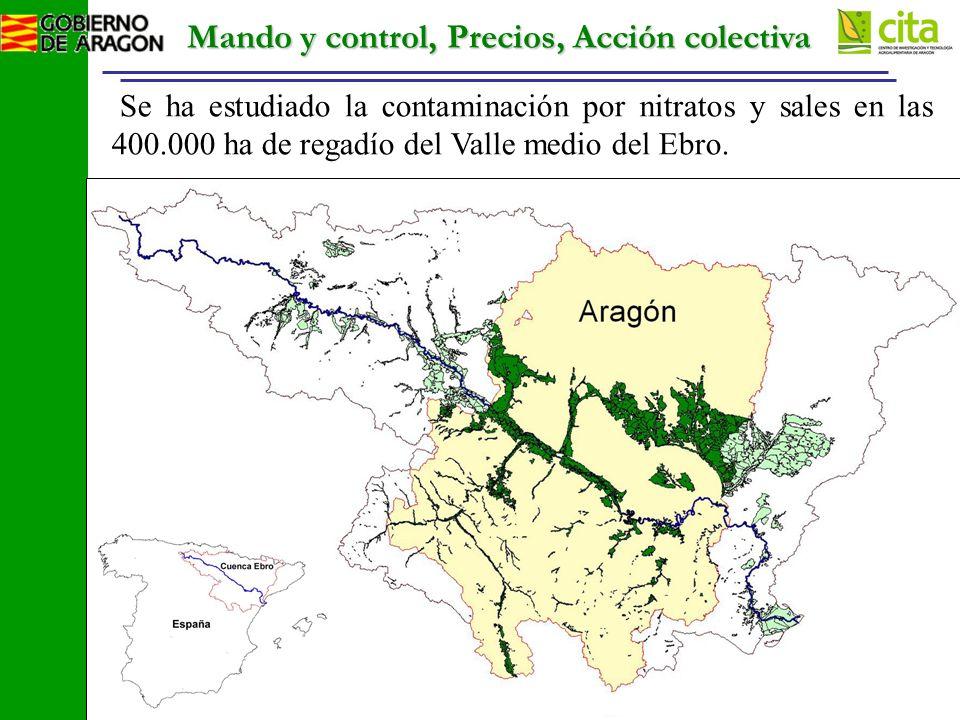 Mando y control, Precios, Acción colectiva Se ha estudiado la contaminación por nitratos y sales en las 400.000 ha de regadío del Valle medio del Ebro.