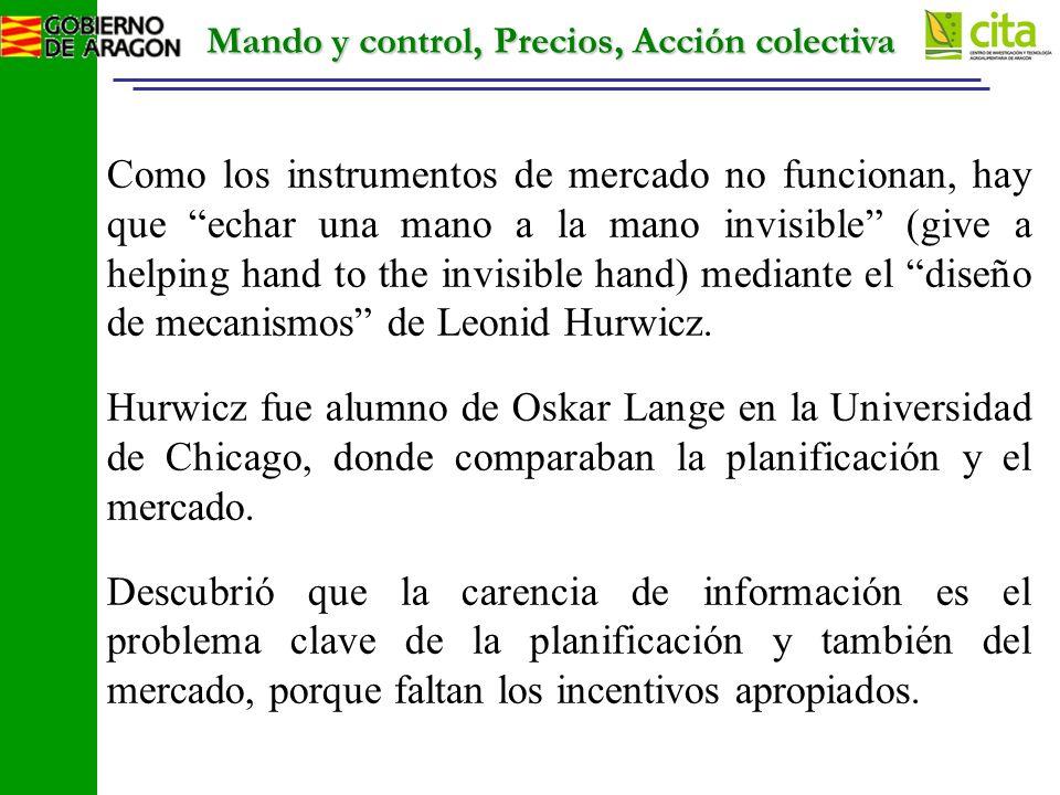 Mando y control, Precios, Acción colectiva Como los instrumentos de mercado no funcionan, hay que echar una mano a la mano invisible (give a helping hand to the invisible hand) mediante el diseño de mecanismos de Leonid Hurwicz.