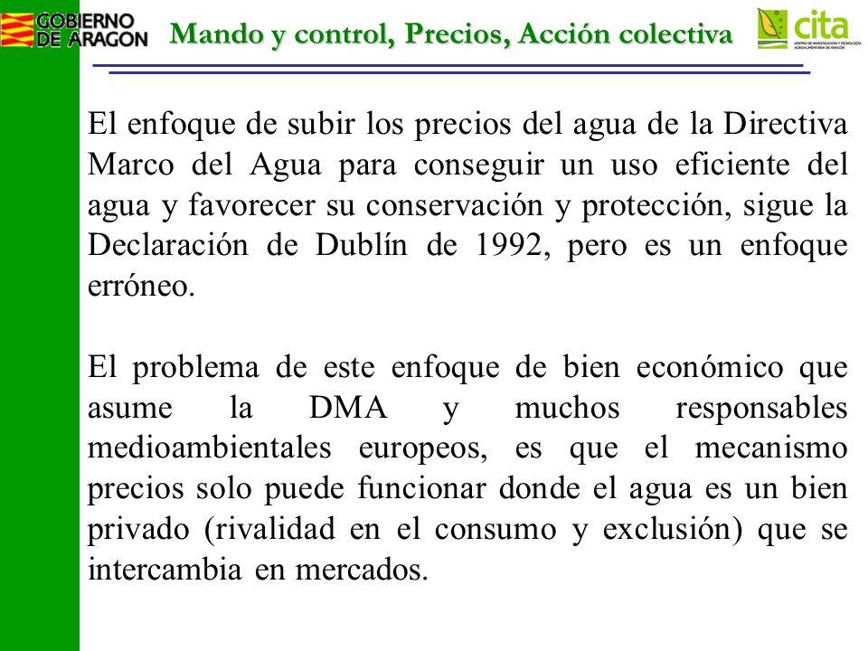 Mando y control, Precios, Acción colectiva El enfoque de subir los precios del agua de la Directiva Marco del Agua para conseguir un uso eficiente del agua y favorecer su conservación y protección, sigue la Declaración de Dublín de 1992, pero es un enfoque erróneo.